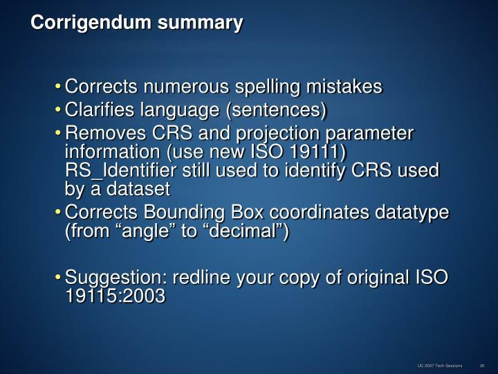 Corrigendum summary