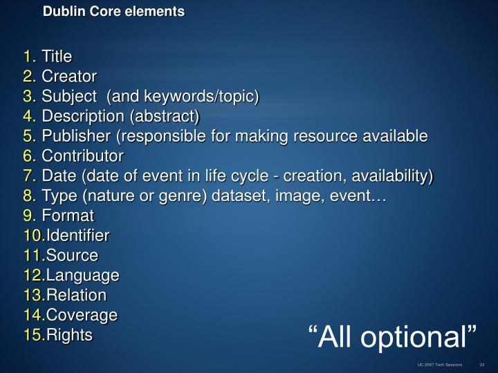 Dublin Core elements