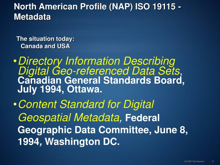 North American Profile (NAP) ISO 19115 - Metadata