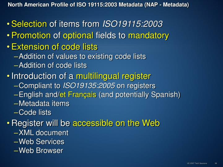 North American Profile of ISO 19115:2003 Metadata (NAP - Metadata)
