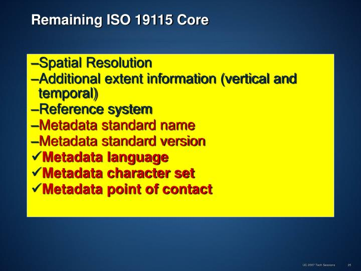 Remaining ISO 19115 Core