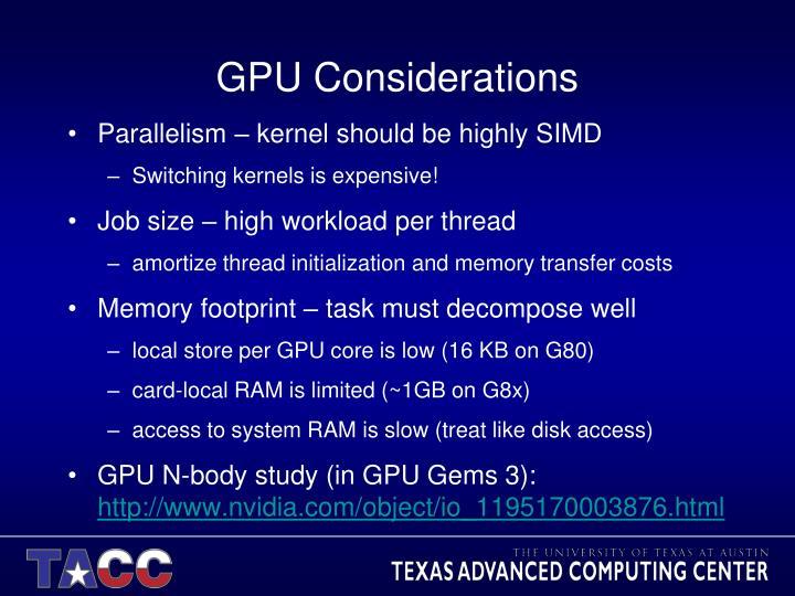 GPU Considerations