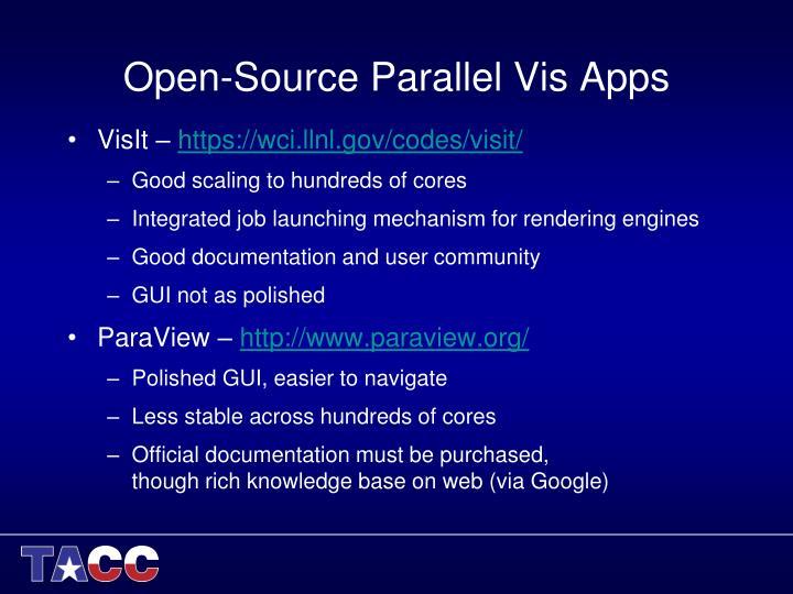Open-Source Parallel Vis Apps