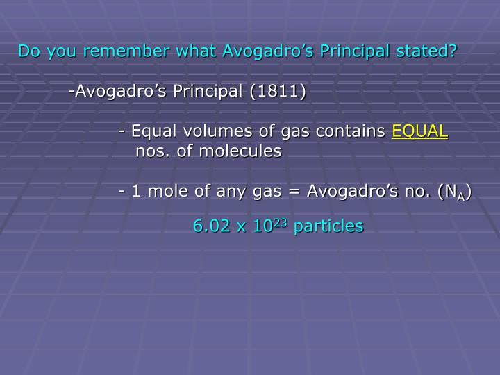 Do you remember what Avogadro's Principal stated?