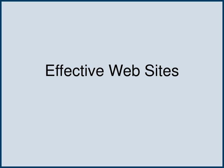 Effective Web Sites