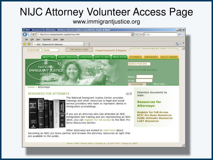 NIJC Attorney Volunteer Access Page