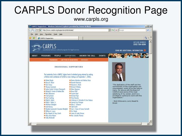 CARPLS Donor Recognition Page
