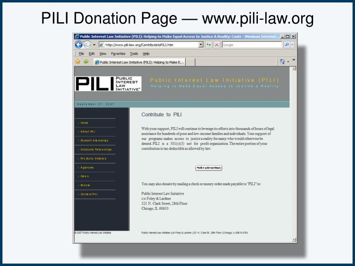 PILI Donation Page — www.pili-law.org