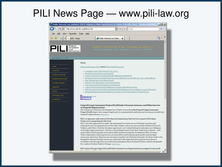 PILI News Page — www.pili-law.org