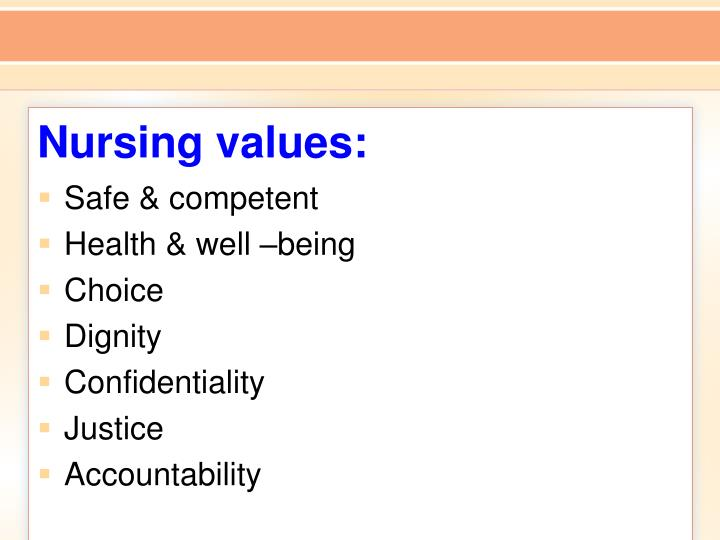Nursing values: