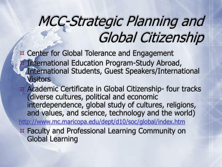 MCC-Strategic Planning and Global Citizenship