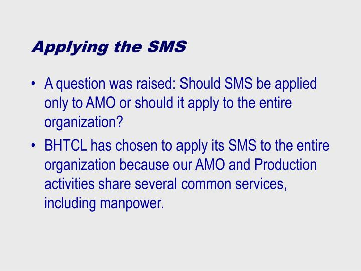 A question was raised: Should SMS be applied only to AMO or should it apply to the entire organization?