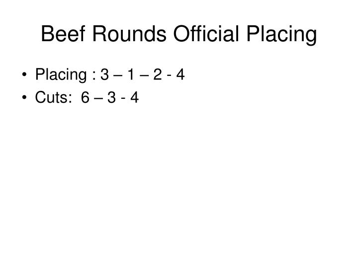 Beef Rounds Official Placing