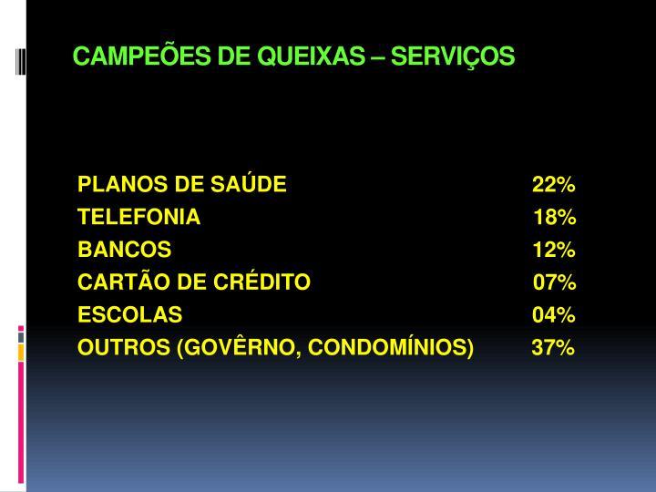 CAMPEÕES DE QUEIXAS – SERVIÇOS