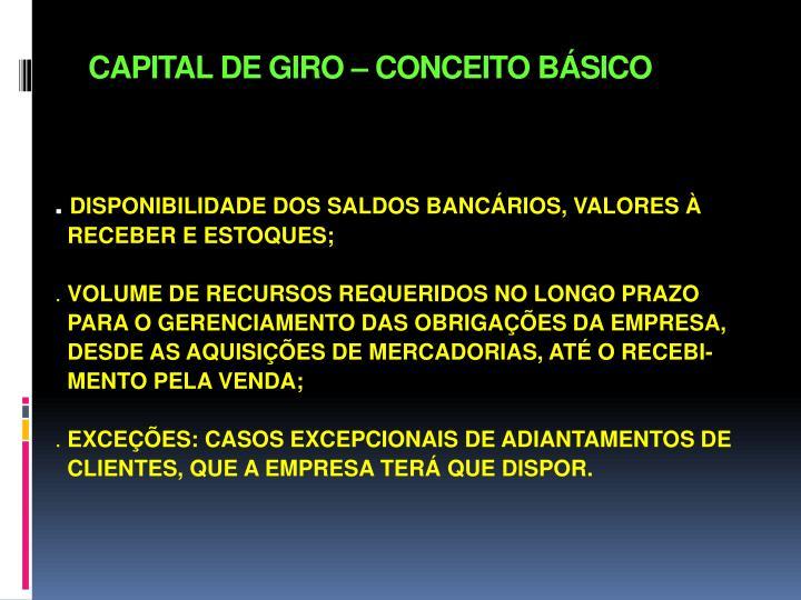 CAPITAL DE GIRO – CONCEITO BÁSICO