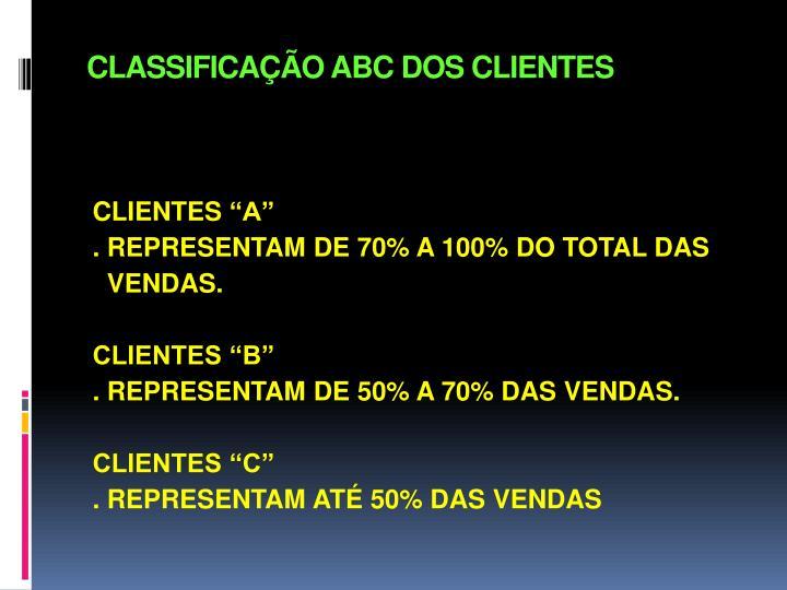 CLASSIFICAÇÃO ABC DOS CLIENTES