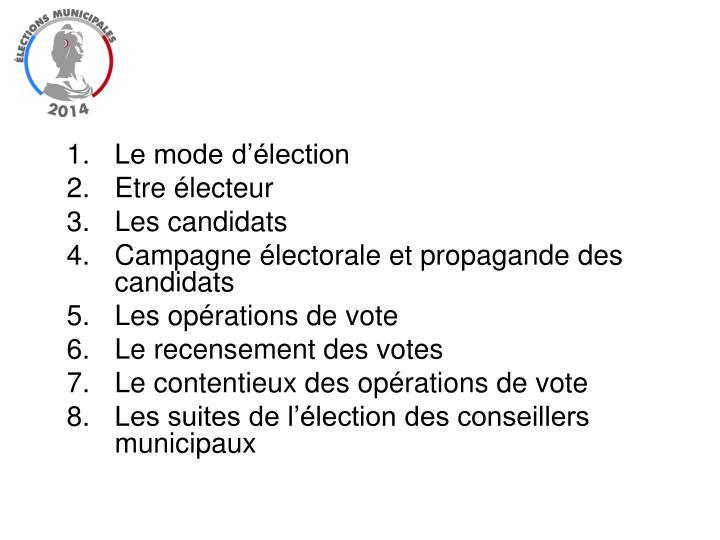Le mode d'élection