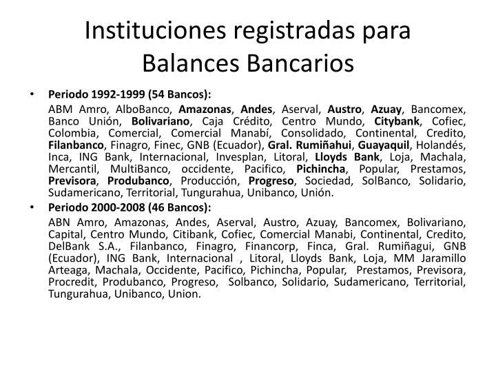 Instituciones registradas para  Balances Bancarios