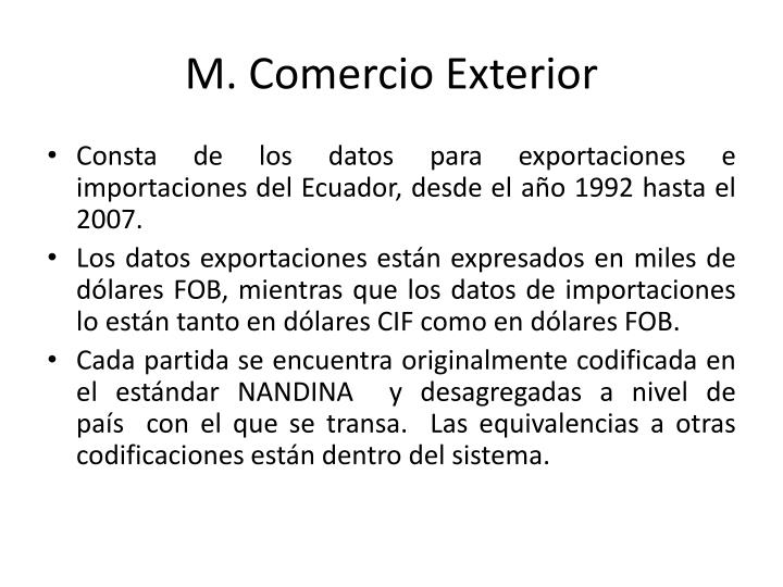 M. Comercio Exterior