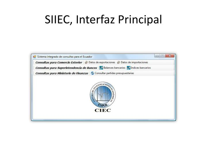 SIIEC, Interfaz Principal