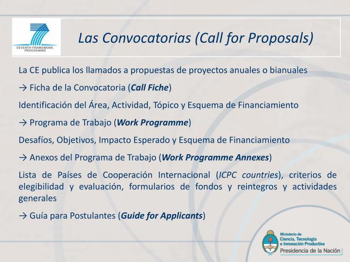 Las Convocatorias (Call for Proposals)