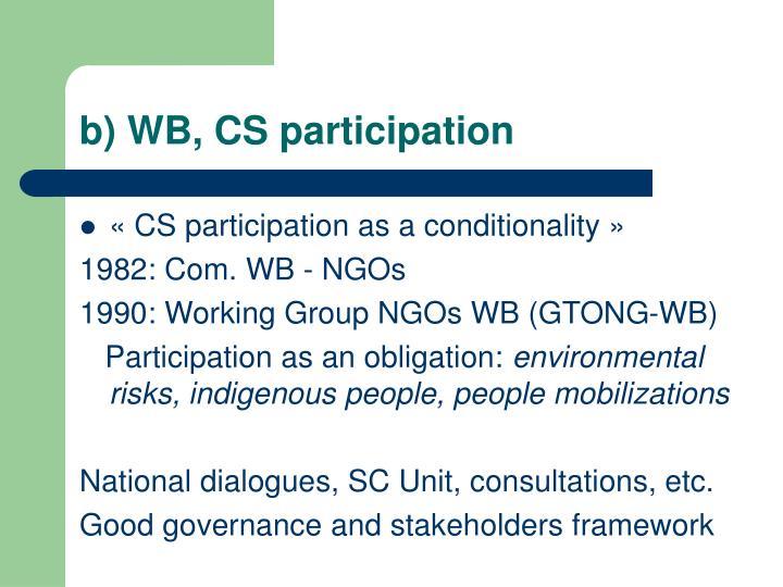 b) WB, CS participation