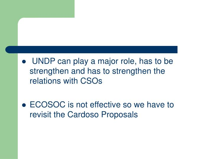 UNDP can play a major role, has to be strengthen and has to strengthen the relations with CSOs
