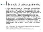example of pair programming
