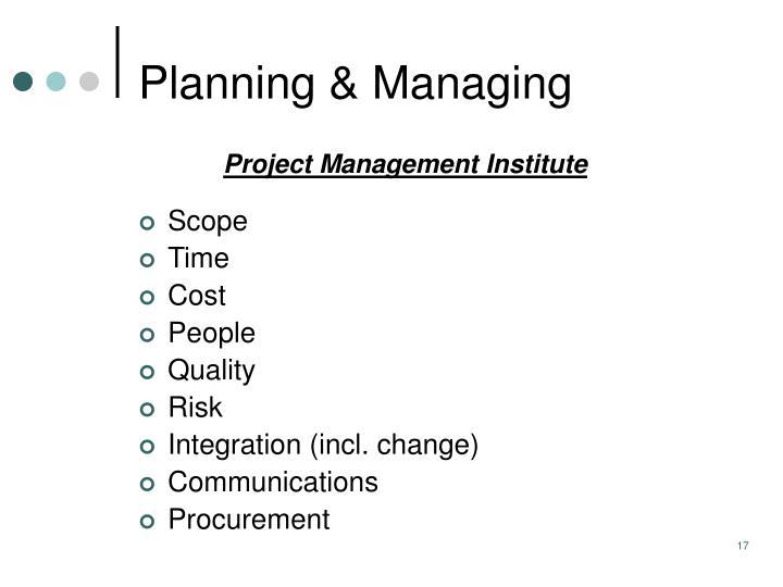 Planning & Managing