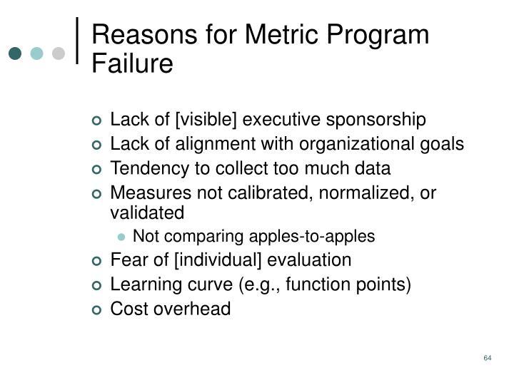Reasons for Metric Program Failure
