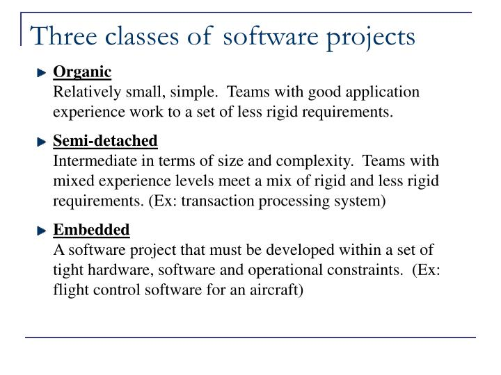 Three classes of software projects