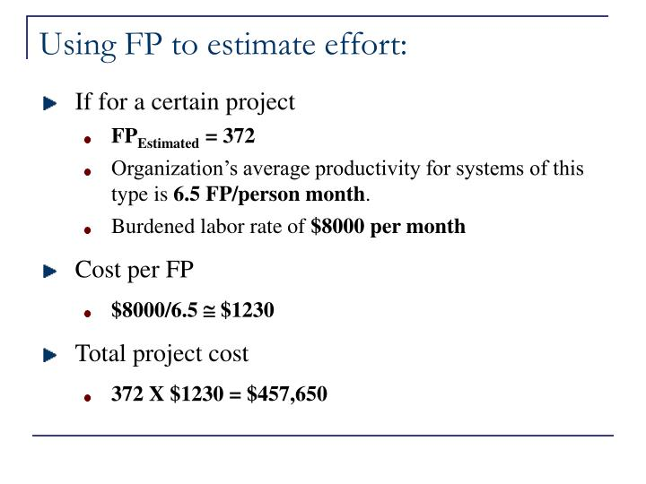 Using FP to estimate effort: