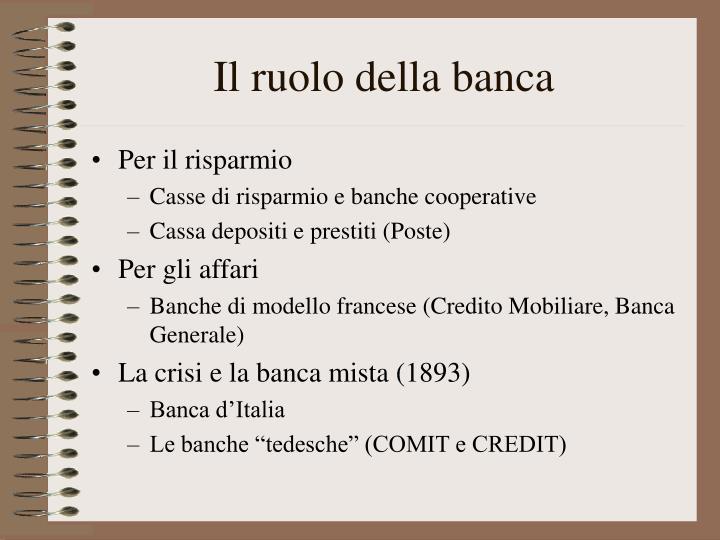 Il ruolo della banca