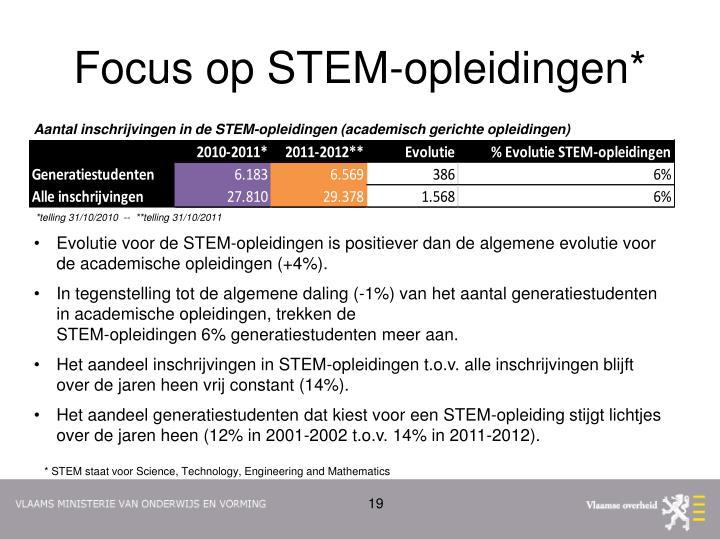 Focus op STEM-opleidingen*