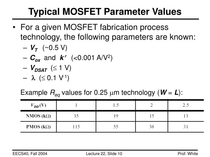 Typical MOSFET Parameter Values