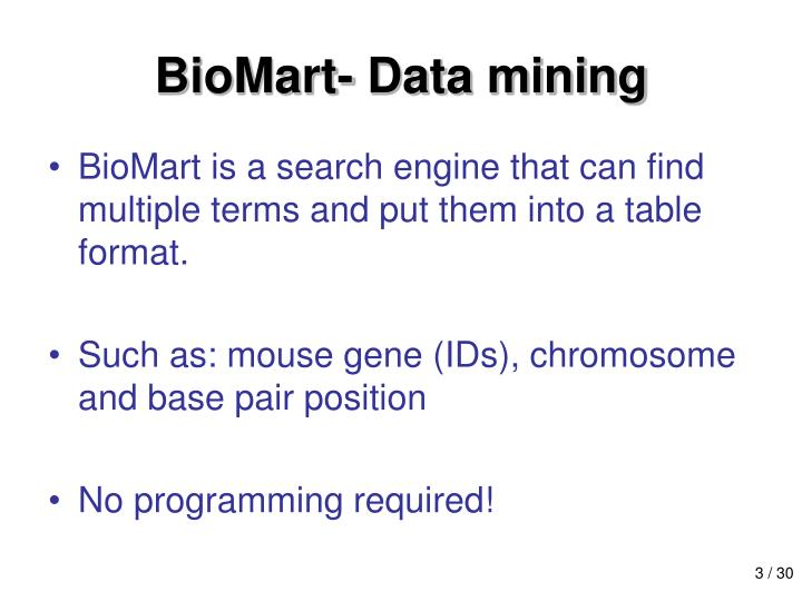 Biomart data mining