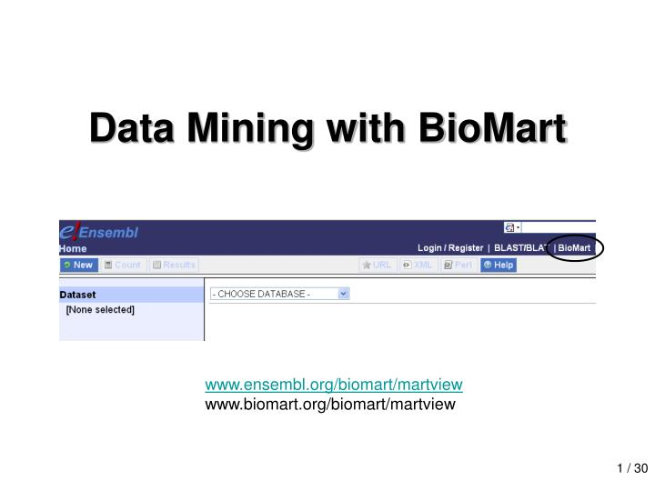 Data mining with biomart