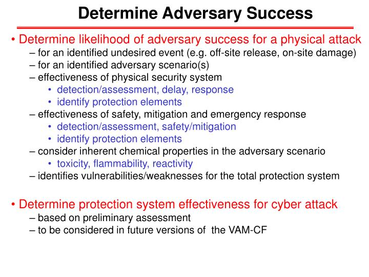 Determine Adversary Success