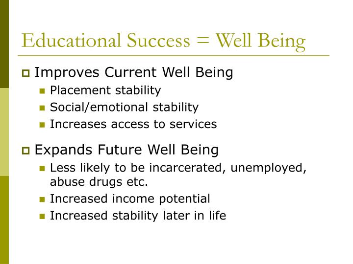Educational Success = Well Being