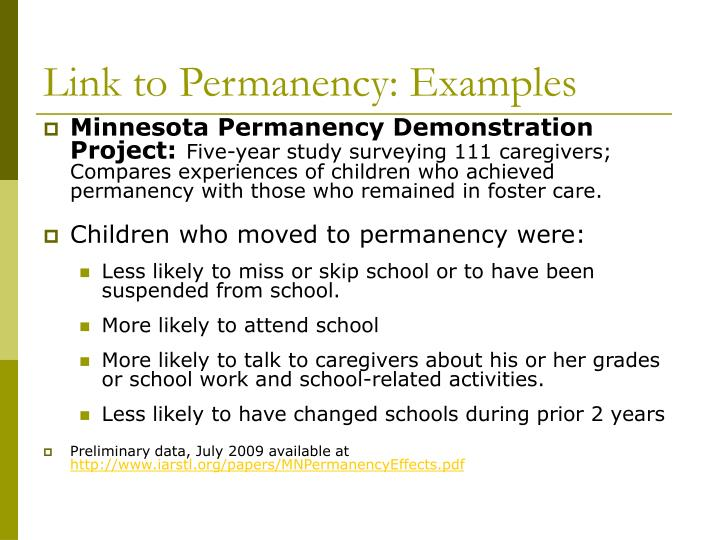 Link to Permanency: Examples