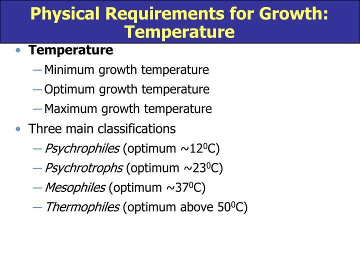 Physical requirements for growth temperature