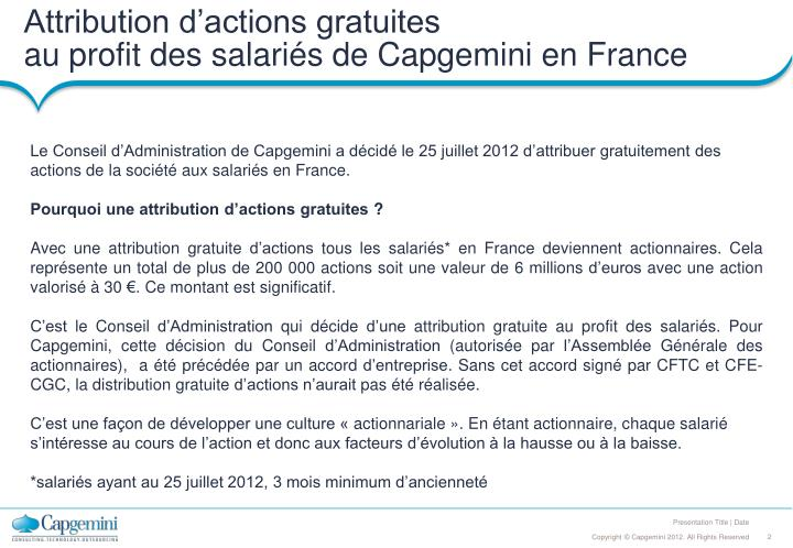 Attribution d'actions gratuites