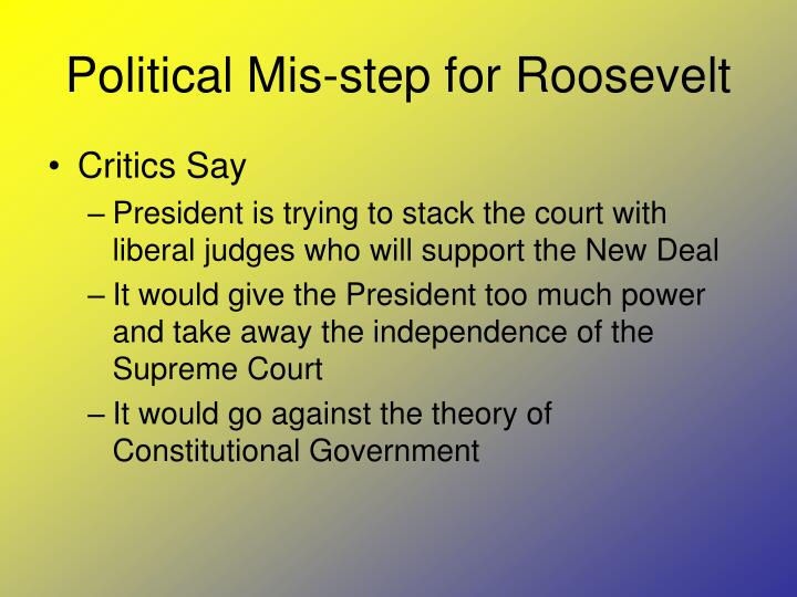 Political Mis-step for Roosevelt