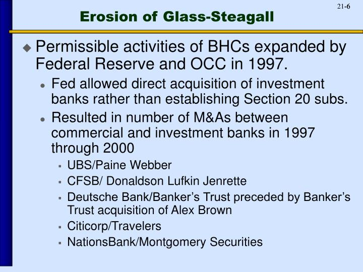 Erosion of Glass-Steagall