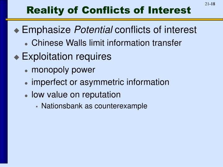 Reality of Conflicts of Interest