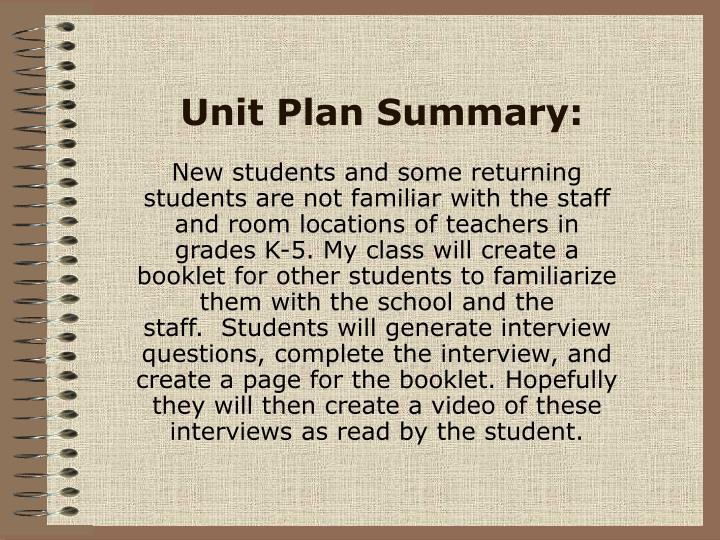 Unit Plan Summary: