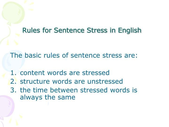 Rules for Sentence Stress in English