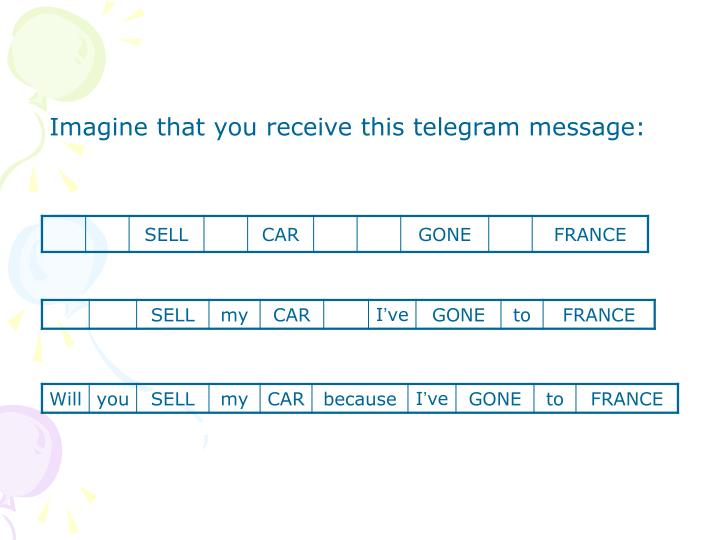 Imagine that you receive this telegram message: