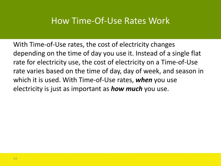 How Time-Of-Use Rates Work