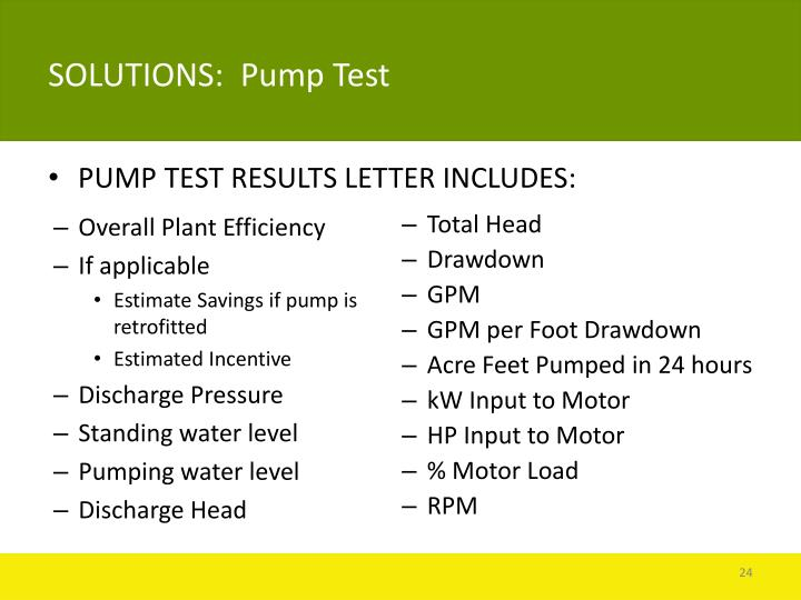 SOLUTIONS:  Pump Test